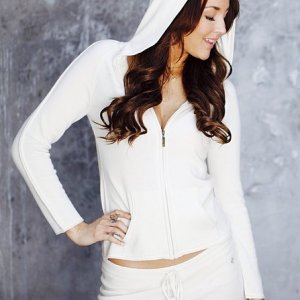 Nicki Zip Up Jacket in Black or Ivory Pure Cashmere by Anna Kouture