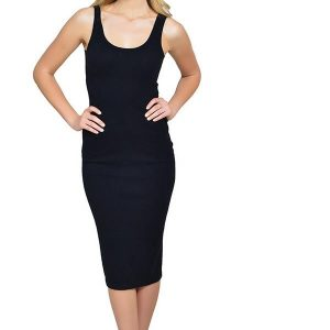 Cashmere midi dress by Anna Kouture in Black Cashmere luxury worn by actress model Hunter Elizabeth