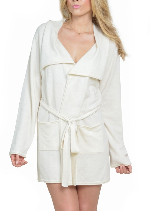 Anna Kouture Lesley Robe in Ivory Color Pure Cashmere Front
