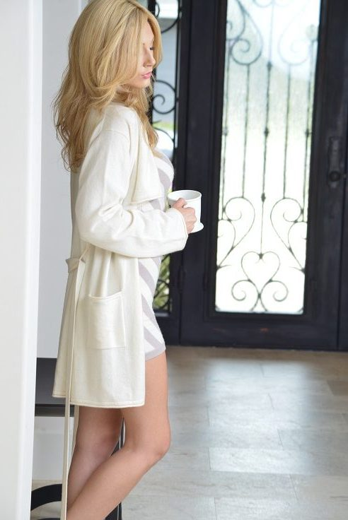 Anna Kouture Lesley Robe in Ivory Champagne color pure Cashmere worn by Hunter Elizabeth Actress