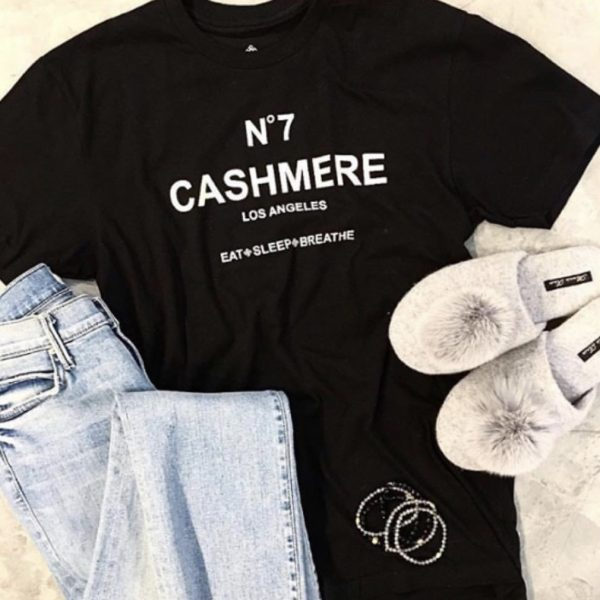 Flatlay of the Anna Kouture No7 Cashmere T-Shirt in Black