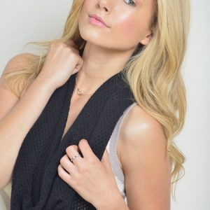 Charlotte Cashmere infinity scarf by Anna Kouture in Black worn by Singer Actress Hunter Elizabeth