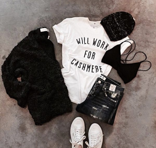 Anna Kouture Will Work for Cashmere T-Shirt inspired Lifestyle Flatlay