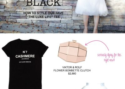 Designer Anna Kouture wearing outfit Cashmere inspired T-shirt Luxe Life Tee