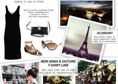 Anna K.outure Travel inspire collage feating the Gianna Midi Black Cashmere Dress and Luxe Life Tee in White