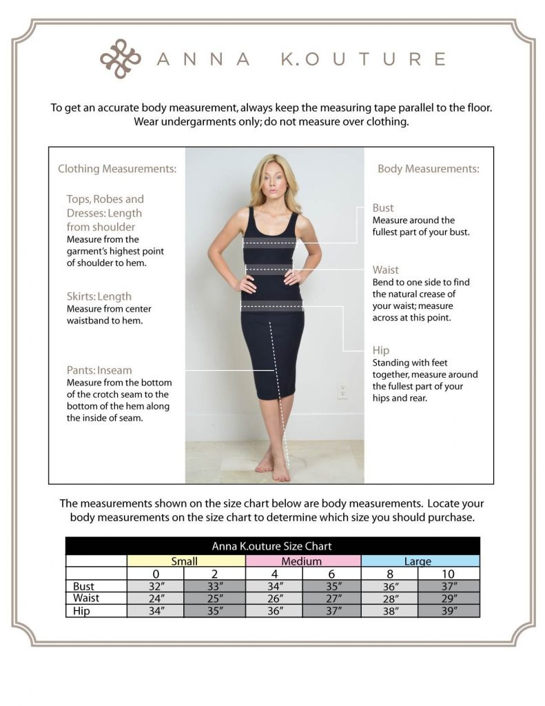 Anna Kouture Size Chart for Clothing Measurements and Body Measurements
